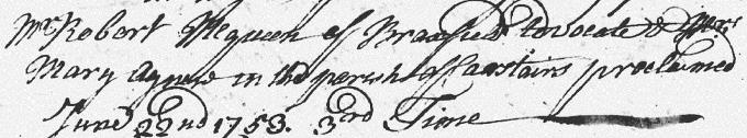 Marriage entry for Robert Macqueen - Lanark
