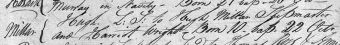 Baptism entry for Hugh Miller