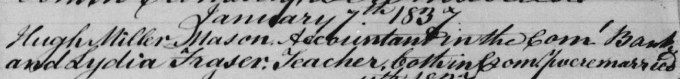 Marriage entry for Hugh Miller