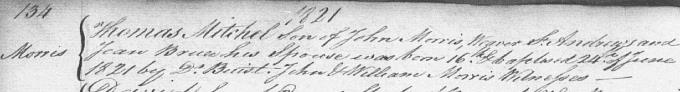 Birth and baptism entry for Old Tom Morris