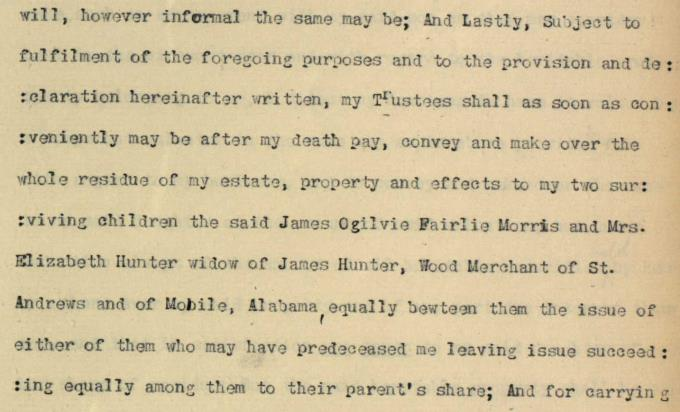 Detail from the will of Old Tom Morris