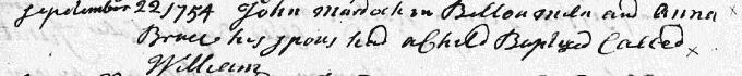 Baptism entry for William Murdoch