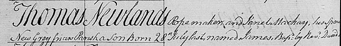 Birth and baptism entry for James Newlands