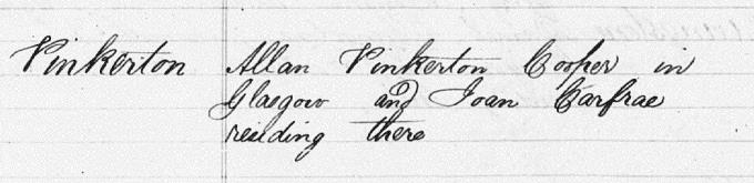 Marriage entry for Allan Pinkerton