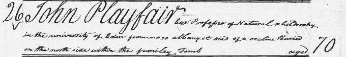 Burial entry for John Playfair