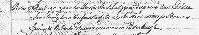 Birth and baptism entry for Henry Raeburn