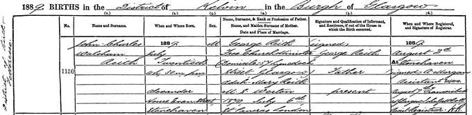 Transcript of birth entry for John Reith