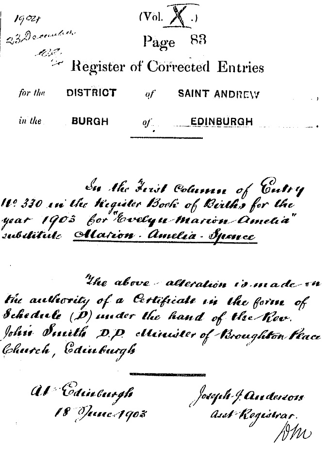 RCE for birth entry of Marion Ross