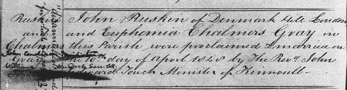 Marriage entry for John Ruskin