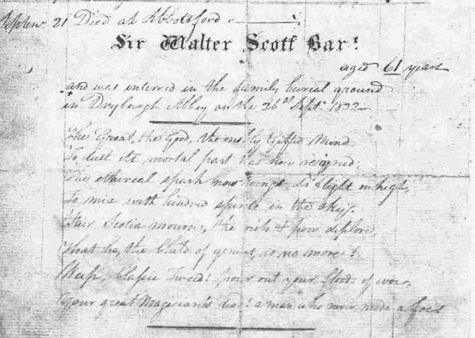 Death and burial entry for Sir Walter Scott - Melrose