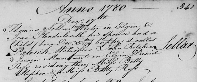 Birth and baptism entry for Patrick Sellar