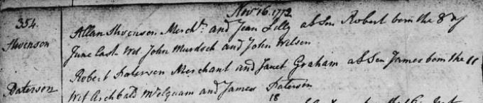 Baptism entry for Robert Stevenson
