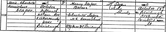 Birth entry for Marie Stopes