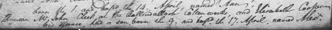 Birth and baptism entry for Alexander 'Greek' Thomson
