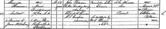 Death entry for Alexander 'Greek' Thomson