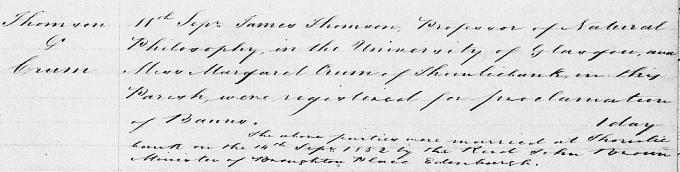 Marriage entry for William Thomson - Eastwood