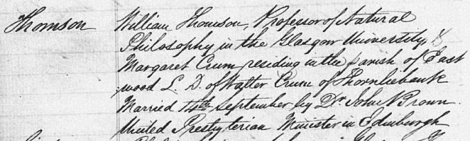 Marriage entry for William Thomson - Glasgow
