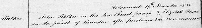 Marriage entry for Johnnie Walker - Kilmarnock