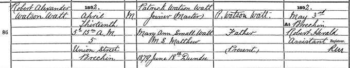 Birth entry for Robert Watson-Watt