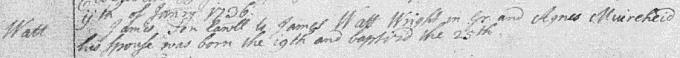 Birth and baptism entry for James Watt