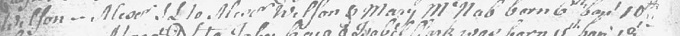 Birth and baptism entry for Alexander Wilson (ornithologist)