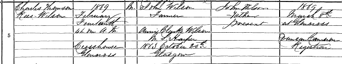 Birth entry for Charles Thomson Rees Wilson