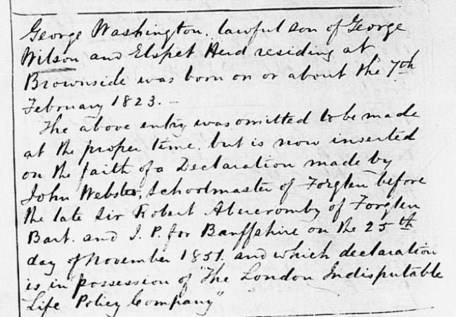 Birth entry for George Washington Wilson