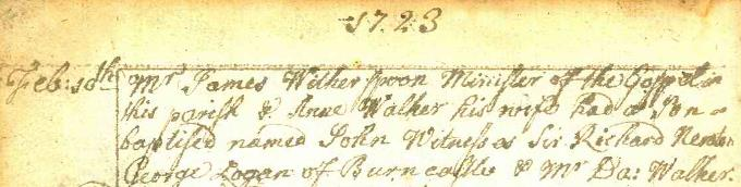 Baptism entry for John Witherspoon