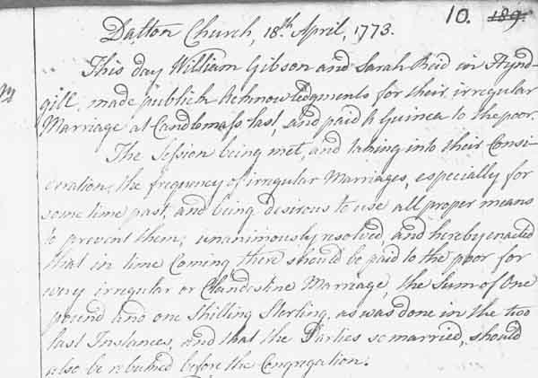 Acknowledgement of Their Irregular Marriage from 1773 (reference OPR 818/2)