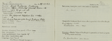 Section of Field Book entry for Royal Exchange Buildings, showing 'see case' references (National Records of Scotland, IRS67/123 Ward 10 entry 352).