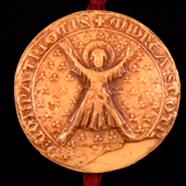 Image of the seal of the Guardians of Scotland, 1292, showing Saint Andrew