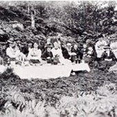 Photograph of parties from Invercreran House and Barcaldine House picnicking in Argyll countryside, 1866 (Crown Copyright, National Records of Scotland,GD1/1208/1/80)