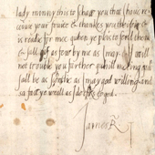 Image of a letter from the young King James VI of Scotland to the Countess of Mar, thanking her for a gift of fruit, 1570-1579 (Crown Copyright, National Records of Scotland, GD124/10/45)