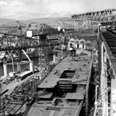 Photograph of bonding of aluminium units during construction of the Cunard liner RMS Queen Elizabeth 2 at the shipyard of John Brown & Company, Clydebank, 19 May 1967 (Crown Copyright, National Records of Scotland, UCS1/118/736/156)