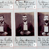 Image of a page from the index to the prison register of Barlinnie Prison, Glasgow, with photographs of male criminal prisoners, September-October 1882 (Crown Copyright, National Records of Scotland, HH21/70/97/1)