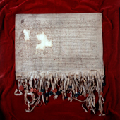 Image of the Declaration of Arbroath. Letter from the barons and freeholders and the whole community of the kingdom of Scotland to Pope John XXII, dated at Arbroath, 6 Apr 1320 (Crown Copyright, National Records of Scotland, SP13/7)