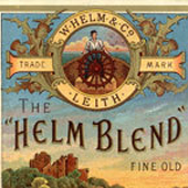 Image of a bottling label for Helm Blend fine old highland whisky produced by W Helm & Co, Leith. Label is illustrated with countryside scene of a castle set above a river bend, c. nineteenth century (Crown Copyright, National Records of Scotland, CE57/4/50)