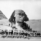 Photograph of soldiers of The Black Watch, (Royal Highlanders) standing in front of the Sphinx after the battle of Tel-el-Kebir, 1882 (Crown Copyright, National Records of Scotland, GD483/26/2)