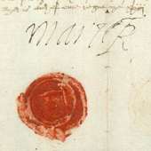 Image of a royal letter under the Signet bearing the signatures of Mary Queen of Scots and her secretary, Sir William Maitland of Lethington, ratifying infeftment of Alexander Irvine of Drum in lands in the barony of Strathbogey in Aberdeenshire, 18 Jun 1565 (Crown Copyright, National Records of Scotland, GD105/83A)