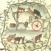 Image of a vignette of distilling and farming. Detail from plan of  lands of Craigend in Parish of St Ninians, Stirlingshire, by William Drummond, surveyor, April 1798 (Crown Copyright, National Records of Scotland, RHP80866)