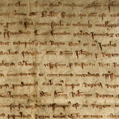 Image of a declaration by the bishops, abbots, priors and other Scottish clergy asserting the right of King Robert I to the Scottish crown and swearing fealty and allegience to him, 24 February 1310 (Crown Copyright, National Records of Scotland,SP13/4).