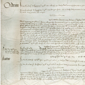Image of the first recorded reference to whisky, an excerpt from the Exchequer Roll which notes that John Corr, a monk at Lindores Abbey, was allowed 8 bolls of grain to make aqua vitae for the King, 1494 (Crown Copyright, National Records of Scotland, E38/306)