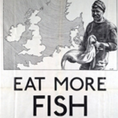 "Image of a poster produced by UK government as part of the ""Eat More Herrings Campaign"" to increase consumption of UK herring catch, 1930s (Crown Copyright, National Records of Scotland, AF56/1045/3)"