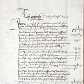 Image of the first official recorded mention of tartan, 24 March 1538 (Crown Copyright, National Records of Scotland, E21/34/63/1)