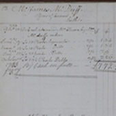 Image of a page from an Edinburgh Whisky Mercahnts ledger book detailing payments for whisky, 1766-1774 (Crown Copyright, National Records of Scotland,GD1/8)