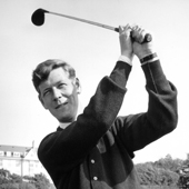 Photograph of R S Jamieson a professional golfer at Turnberry taking a golf stroke, circa 1959 (Crown Copyright, National Records of Scotland, BR/HOT/4/141)