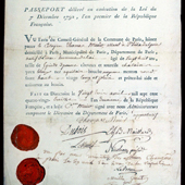 Image of French passport issued to Thomas Muir, political writer and radical,1793 (Crown Copyright, National Records of Scotland, JC26/276/14)