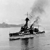 Photograph of the 4th Battle Squadron passing Inchcolm Island on the Firth of Forth, led by its flagship HMS Dreadnought, 1918 (Crown Copyright, National Records of Scotland, GD391/103/1/2/6(8))