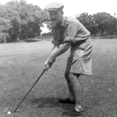 Photograph of Edward Lee concentrating while playing golf at Royal Calcutta Golf Club, Tollygunge, Calcutta, West Bengal, India, 1942 (Crown Copyright, National Records of Scotland, GD391/103/11/1)