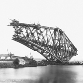 Image showing detail from photograph of the Forth Rail Bridge under construction